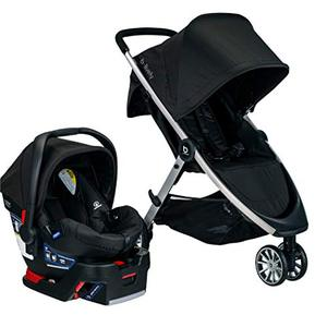 BRITAX B-Lively Travel System with B-Safe 35 Infant Car Seat | One Hand Fold XL Storage Ventilated Canopy, Raven (S05588500)