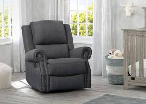 Delta Children Dylan Nursery Recliner Glider Swivel Chair - Charcoal Gray {RETAIL $499.99}