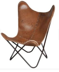 Carbon Loft Larkin Rustic Brown Leather Butterfly Chair- Retail:$246.49