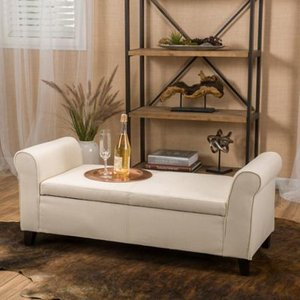 Torino Contemporary Fabric Upholstered Storage Ottoman Bench with Rolled Arms by Christopher Knight Home- Retail:$196.99