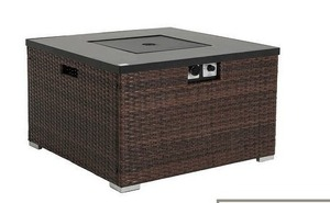 Brown- COSIEST Outdoor Propane Square Espresso Brown Wicker Fire Pit,Tank Outside