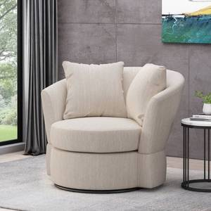 Black + Beige- Smyrna Indoor Upholstered Swivel Club Chair by Christopher Knight Home-