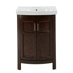 Style Selections Morecott Chocolate Single Sink Vanity with White Vitreous China Top (Common: 24-in x 18-in)