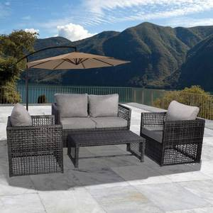 Edenfield 4-PC Wicker All Weather Conversation Patio Sofa Set with Cushions- Retail:$653.49