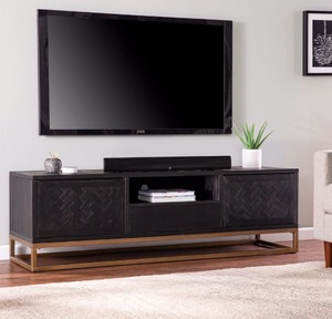 Black / Antique Gold Carbon Loft Delgany Contemporary Black TV/Media Stand-Retail:$601.99