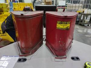Lot of 2 14-Gallon Triangular Oily Waste Cans