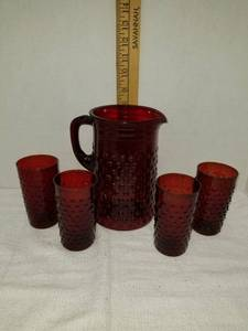 Ruby Red Hobnail Pitcher and Glasses