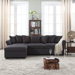 Large Linen Fabric Sectional Sofa with Left Facing Chaise Lounge- Retail:$675.99
