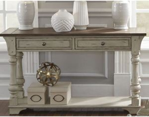 Morgan Creek Antique White and Tobacco Sofa Table- Retail:$497.49