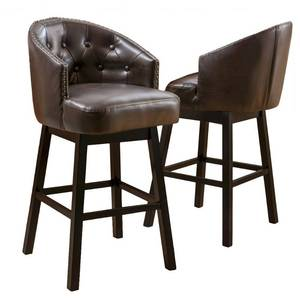 Ogden 31-inch Bonded Leather Swivel Barstool (Set of 2) by Christopher Knight Home- Retail:$289.99
