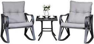 COSIEST Outdoor 3 Piece Bistro Set Rocking Chairs w Warm Gray Cushions- Retail:$288.49 grey