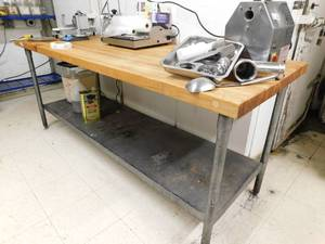 Metal Table With Butcher Block Top