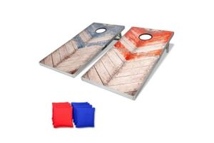 GoSports Rustic Red & Blue Design Cornhole Boards Game Set, Foldable Regulation Size