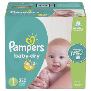 Pampers Baby Dry Disposable Diapers One Month Supply - Size 1 (252ct)