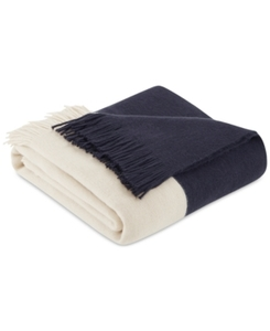 Color Block Faux Cashmere Throw Blanket, Navy