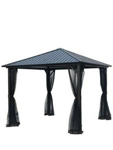 Hard Top Metal Gazebo with Mosquito Netting 10'x 10' Outdoor Gazebo