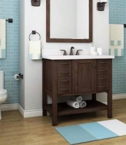 allen and Roth kingscote 36 in espresso single sink bathroom vanity with espresso engineered top