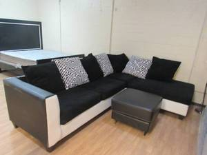 Sectional Couch with Footstool.