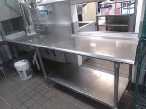 Stainless Steel Table with Sprayer Sink