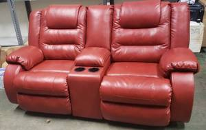 Two Person Theatre Seats With Cupoholders (Red)