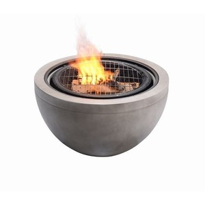 "Peaktop 30"" Outdoor Round Wood Burning Fire Pit with Concrete Base, Gray - 30 x 30 x 22.83"