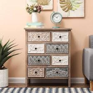 The Curated Nomad Brewa Varied Rustic Carved Wood 8-drawer Chest- Retail:$217.99