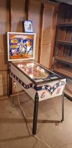 Bally 1979 Evel Knievel Pinball Machine w/Manual ~ Powers on and Operates; however, the Paddles need some maintenance ~ in Basement ~ 22 x 48 x 62.5 in tall